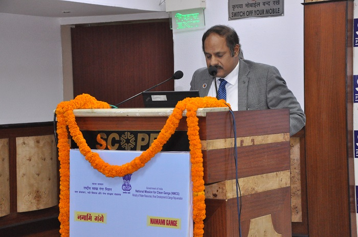 Dr. C.V. Dharma Rao, Deputy Director General, NMCG, addressing the participants at Interactive workshop on CSR activities for Ganga Rejuvenation