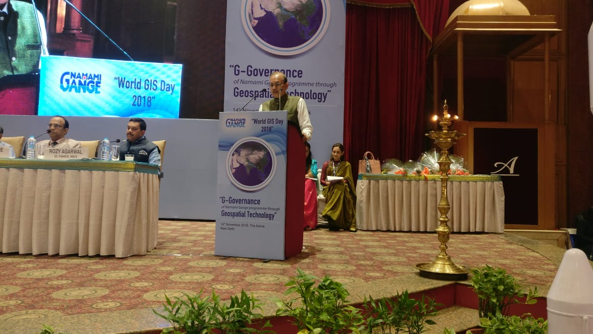 Shri  Rajiv Ranjan Mishra, DG, NMCG addressing the gathering on G Governance programme through Geospatial Technology on the occasion of World GIS Day