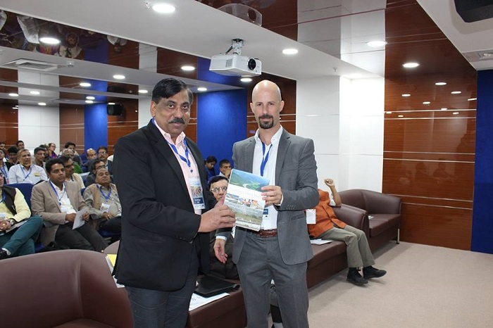Mr. Javier Mateo Sagasta, Senior Researcher, IWMI, presenting a book on The Ganges Basin: Status & Challenges in Water, Environment & Livelihoods to Mr. U.P Singh, DG, NMCG
